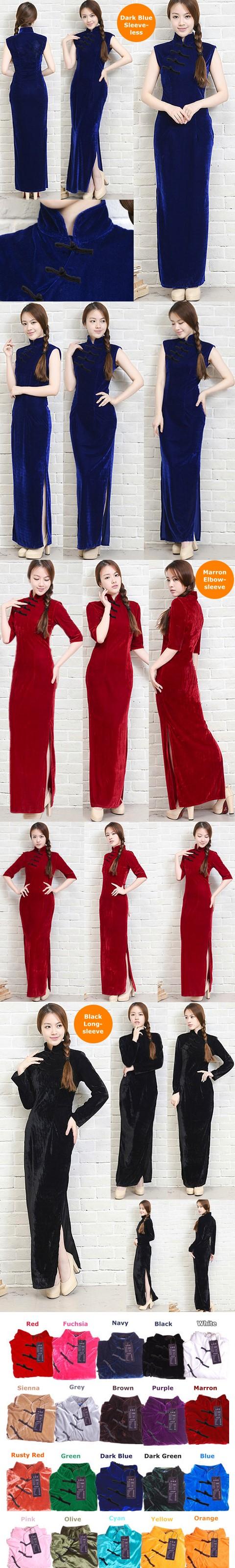 Long-length Velvet Cheongsam Dress