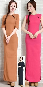 Long-length Cotton Linen Cheongsam Dress