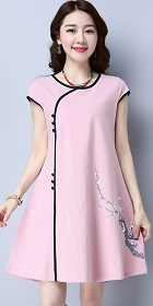 民族風情碗袖連衣裙-粉紅色 (成衣)