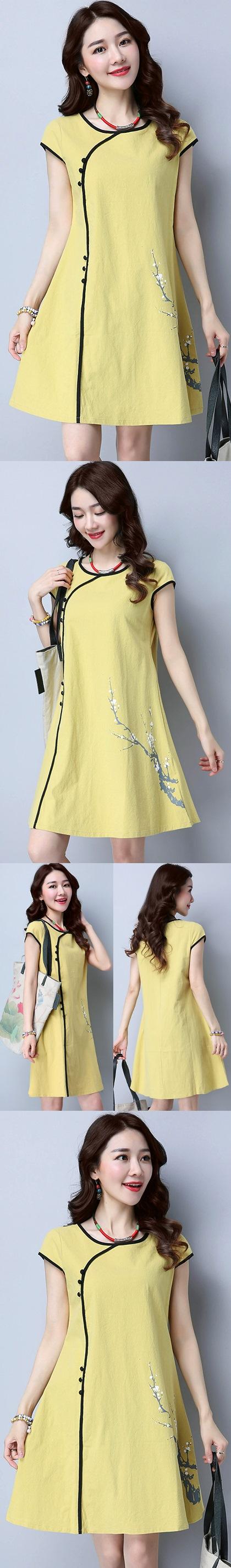 民族風情碗袖連衣裙-黃色 (成衣)