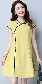 Ethnic Cup-sleeve Hand-painting Dress-Yellow (RM)