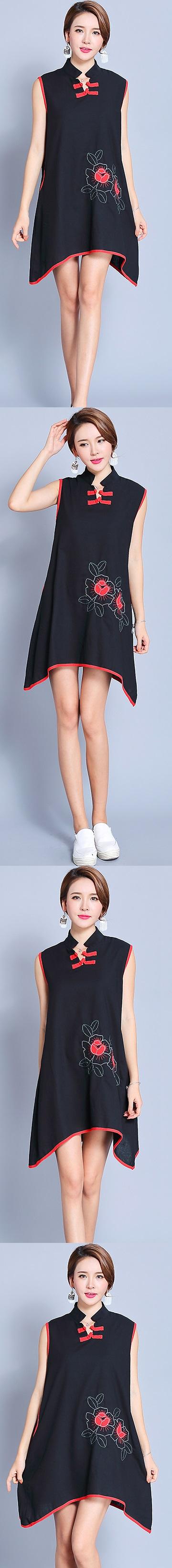 Ethnic Sleeveless Arch-bottom-hem Dress (RM)