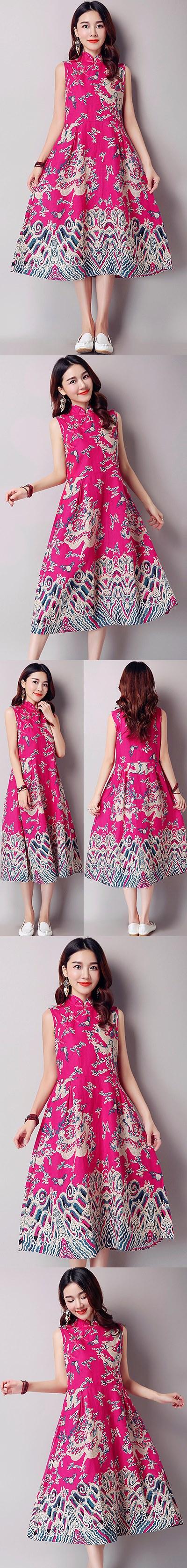 民族風情長身印龍連衣裙-紫紅色 (成衣)