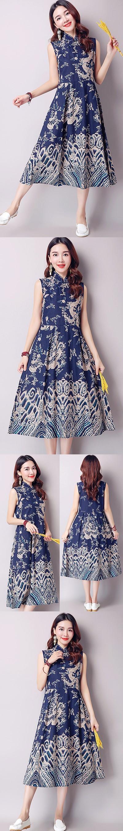 Ethnic Long-length Dragon-printing Dress-Navy Blue (RM)
