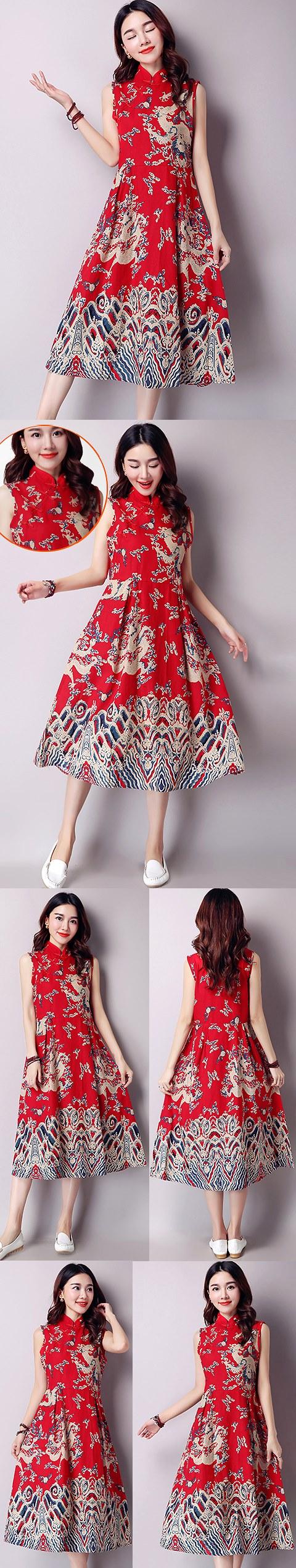 民族風情長身印龍連衣裙-紅藍 (成衣)