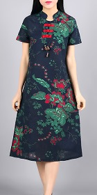 Ethnic Mid-length Floral-printing Dress-Navy Blue (RM)