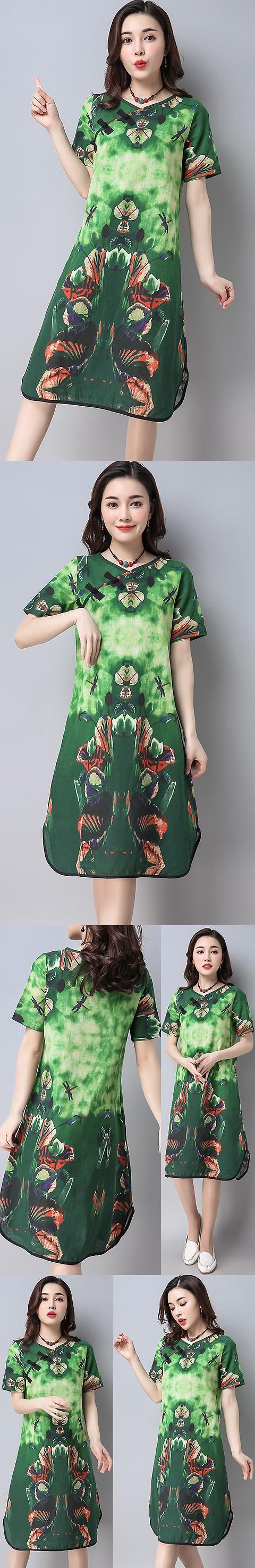 民族風情交領連衣裙-綠色 (成衣)