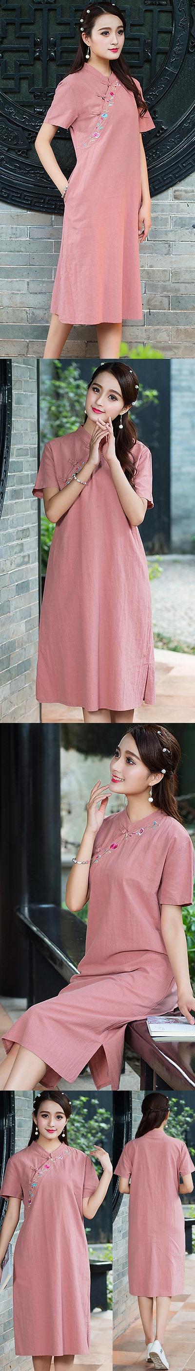 民族風情漢式交領連衣裙-紅豆色 (成衣)