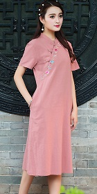 Hanfu-collar Ethnic Dress-Red Bean (RM)