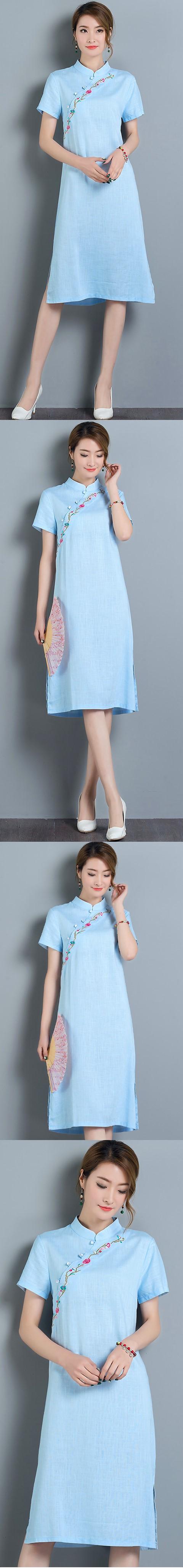 Hanfu-collar Ethnic Dress-Sky Blue (RM)