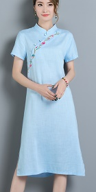 Hanfu-collar Ethnic Dress-Sky Blue (RM)