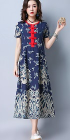 Ethnic Long-length Dragon-printing Dress-Navy Blue (RM)