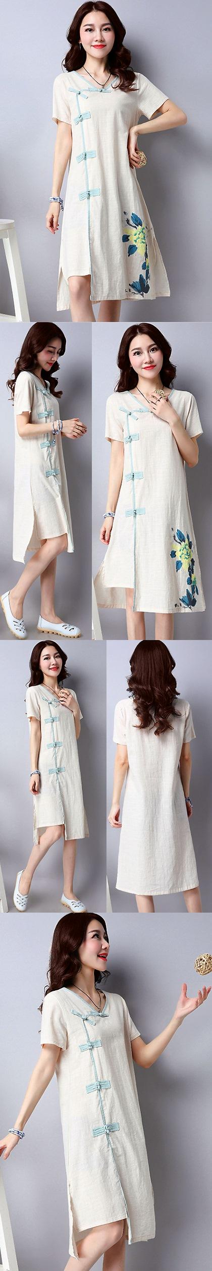 民族風情手繪連衣裙-米色 (成衣)