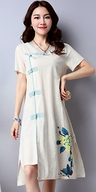 Ethnic Mid-length Hand-painting Dress-Beige (RM)