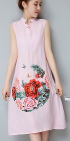 Ethnic Mid-length Floral-printing Dress-Pink (RM)