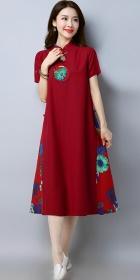 民族風情拼布連衣裙-酒紅色 (成衣)