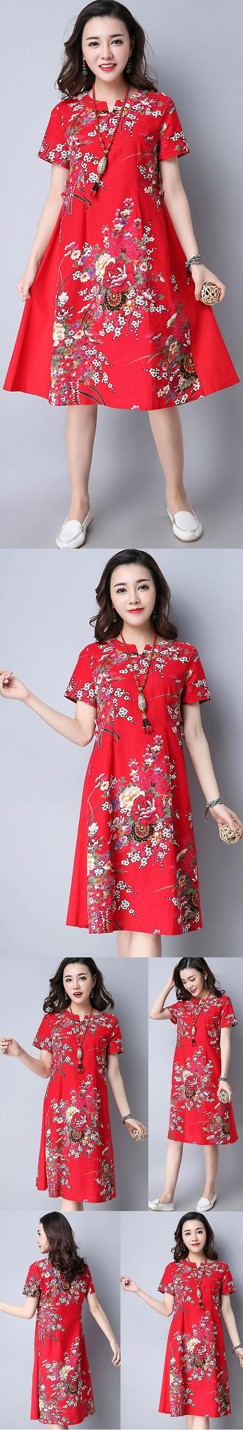 民族風情中長連衣裙-紅色 (成衣)