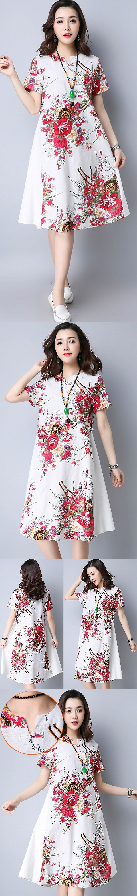 民族風情中長連衣裙-白色 (成衣)