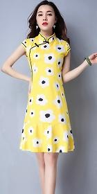 民族風情印花連衣裙-黃色 (成衣)