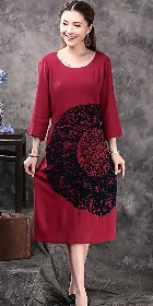 Ethnic 3/4-sleeve Emboss Dress - Dk Red (RM)