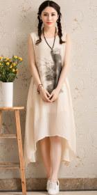 Ethnic Floral Printing Sleeveless Dress (RM)