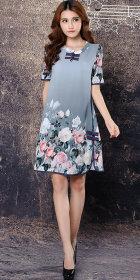 Ethnic Floral Printing Short-sleeve Chiffon Dress (RM)