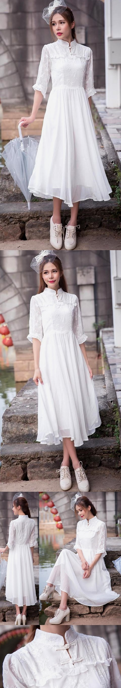 Ethnic 3/4-sleeve Embroidery-gauze Dress -  White (RM)
