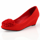 Mid Height Wedge Heel Shoes (Red)