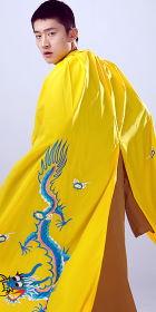 男漢服繡龍披風 - 黃色(成衣)