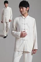 Bargain - Mandarin Plain Polyester Cotton Suit (RM)