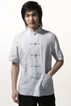 Bargain - Short-sleeve Plain Mandarin Shirt (White)