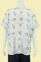 Short-sleeve Taichi Mandarin Shirt - Cream White (RM)