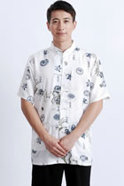 Bargain - Short-sleeve Dragon Mandarin Shirt - Cream White (RM)