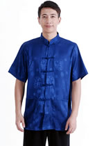 Short-sleeve Huddling Dragons Mandarin Shirt - Dark Blue (RM)