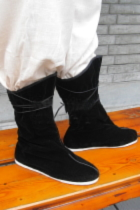 Vintage Han Style Mid Cloth Boots w/ Shoelaces
