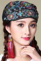 民族風鳳凰刺繡頭巾帽子