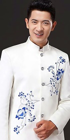Modernised Mao Suit w/ Floral Embroidery (RM)