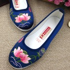 Satin Lotus Embroidery Shoes (Blue)