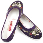 Satin Pomegranate Flower Embroidery Shoes (Purple)