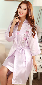 2-piece Floral Embroidery Silk Robe (RM)