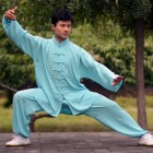 Professional Taichi Kungfu Uniform with Pants - Cotton/Silk - Light Blue (RM)