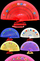 Silk Painting Folding Fan (Multiple Colors)