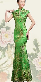 Cup-sleeve Long-length Prom Cheongsam - Green (RM)