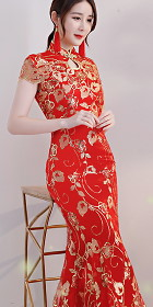 Cup-sleeve Long-length Prom Cheongsam - Red (RM)