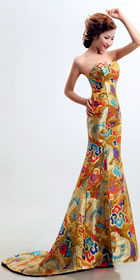 Bare-shoulders Golden Dragon Robe Prom Dress (RM)
