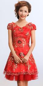 Puff-sleeve Short-length Embroidery Bridal Cheongsam (RM)