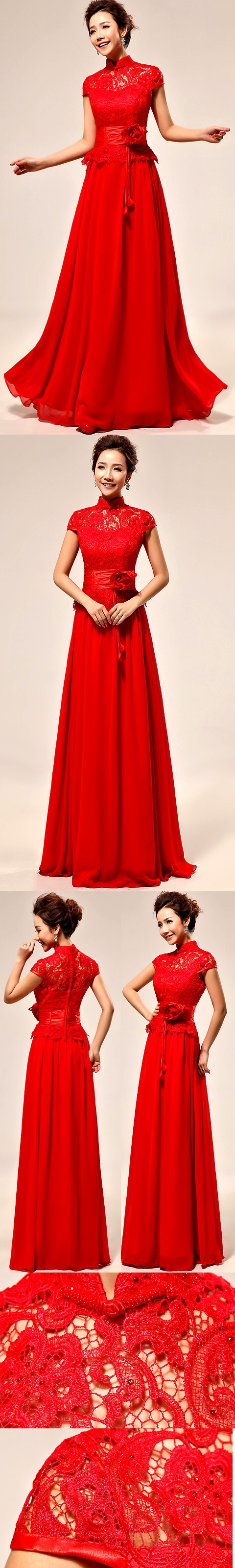 Cup-sleeve Long-length Bridal Cheongsam Dress (RM)