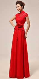 Cup-sleeve Long-length Bridal Cheongsam Dress (RM)
