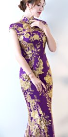 Bargain - Cup-sleeve Long-length Prom Cheongsam (RM)