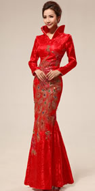 Long-sleeve Long Bridal Cheongsam (RM)